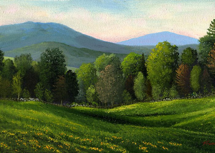 Landscape Greeting Card featuring the painting Summers Ending by Frank Wilson