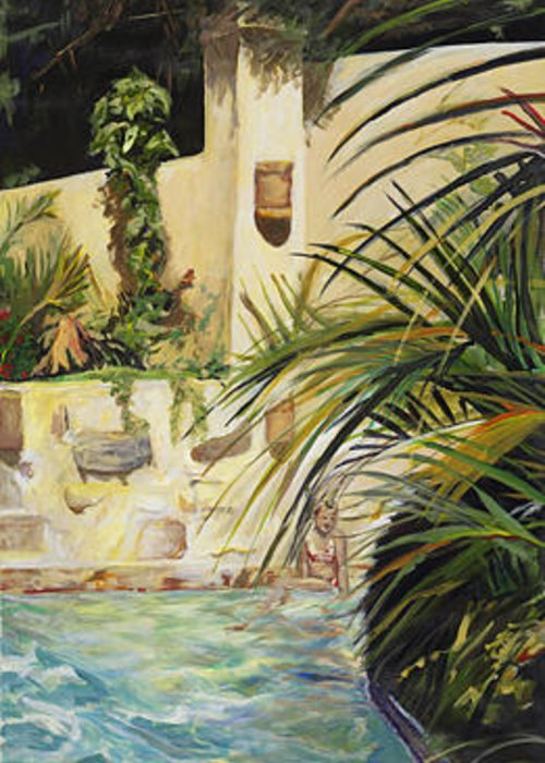 Tropical Greeting Card featuring the painting Summers Lounge by Michelle Winnie