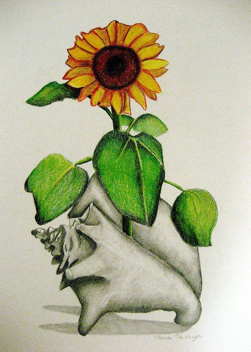 Sunflower Greeting Card featuring the mixed media Summertime by Marita McVeigh