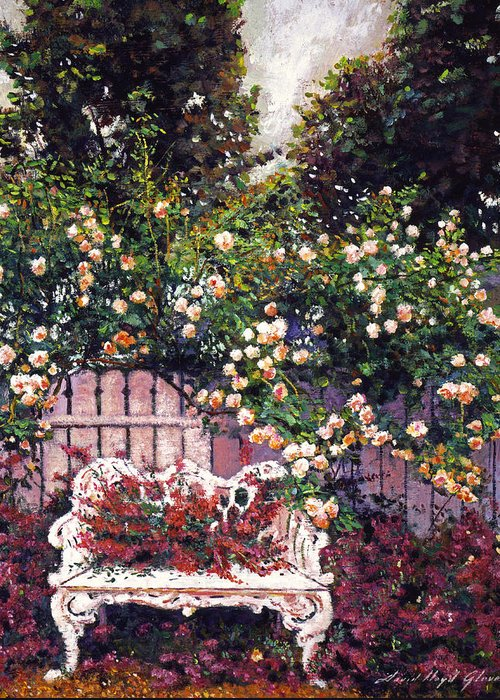 Gardens Greeting Card featuring the painting Sumptous Cascading Roses by David Lloyd Glover