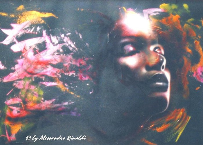 Sun Sole Artekaos Rinaldi Art Conemporary Airbrush Mixed Media Greeting Card featuring the painting Sun... by Alessandro Rinaldi