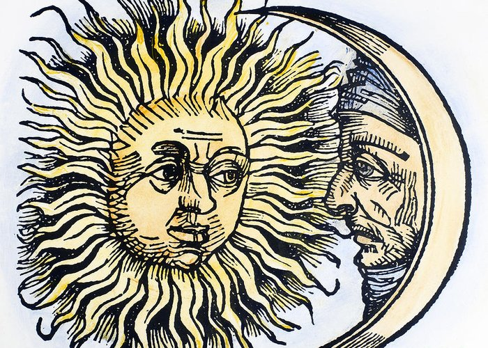 1493 Greeting Card featuring the photograph Sun And Moon, 1493 by Granger