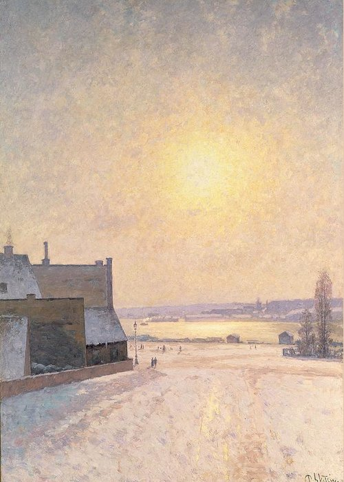 Sun Greeting Card featuring the painting Sun And Snow by Per Ekstrom
