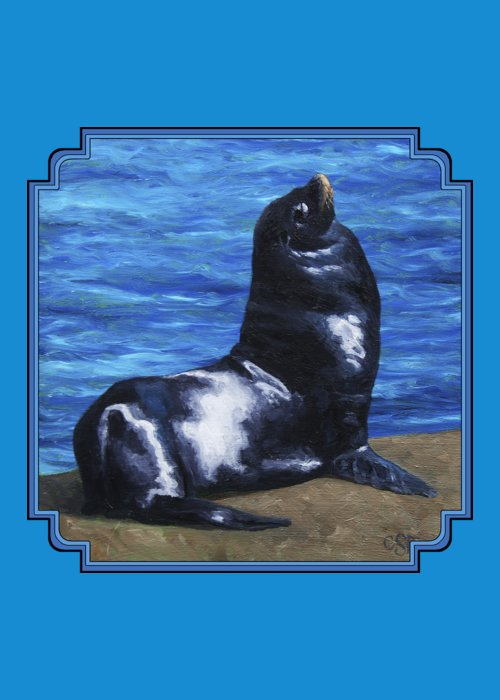 California Sea Lions Paintings Greeting Cards