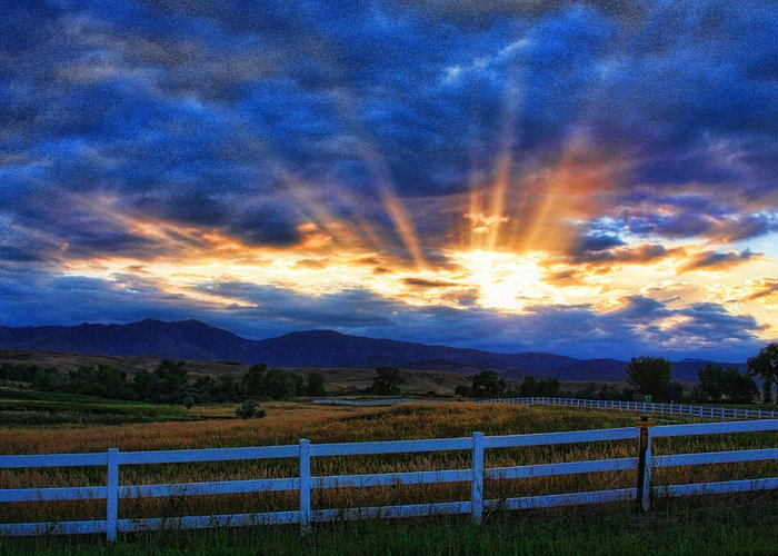 Sunset Greeting Card featuring the photograph Sun Beams In The Sky At Sunset by James BO Insogna