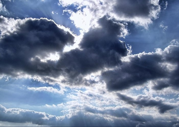 Clouds Greeting Card featuring the photograph Sun Breaking Through The Clouds by Mariola Bitner
