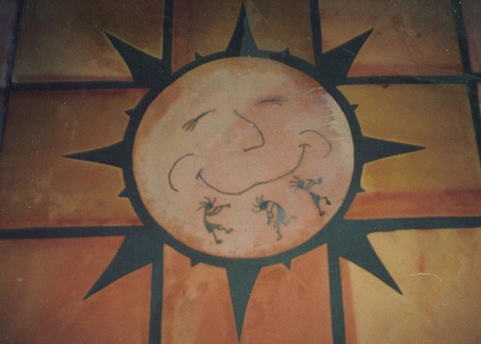Tile Greeting Card featuring the relief Sun Dance Tile Kit by Patrick Trotter