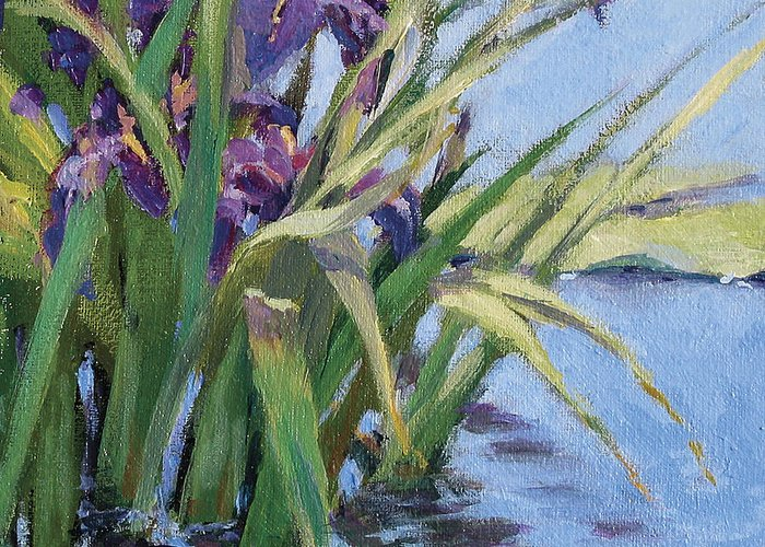 Purple Iris In Water Greeting Card featuring the painting Sun Day - Iris In A Pond by L Diane Johnson