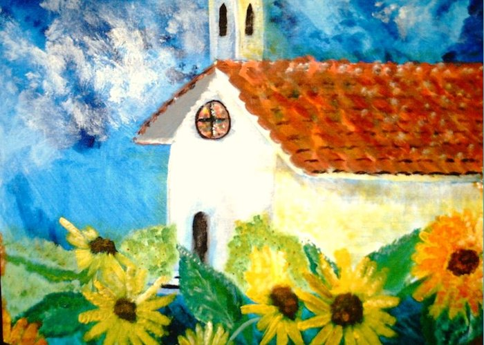 Church Greeting Card featuring the painting Sun Flowers Dance At San Marin by J Bauer