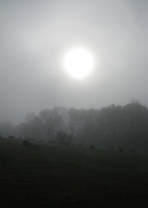 Sun Greeting Card featuring the photograph Sun In Fog Over Cemetery by Richard Singleton
