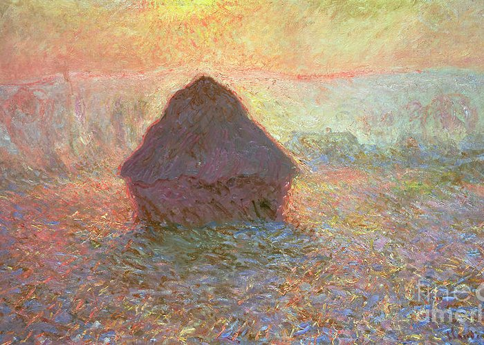 Grainstack Greeting Card featuring the painting Sun In The Mist by Claude Monet