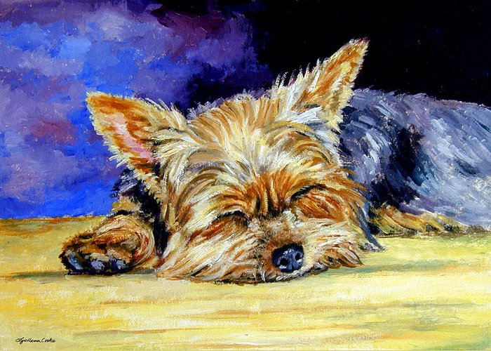 Yorkshire Terrier Greeting Card featuring the painting Sun Light Snoozer - Yorkshire Terrier by Lyn Cook