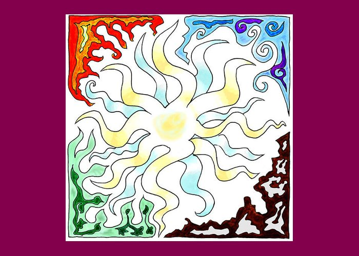 Sun Greeting Card featuring the digital art Sun Moon And Earth by Karolina Wegrzyn