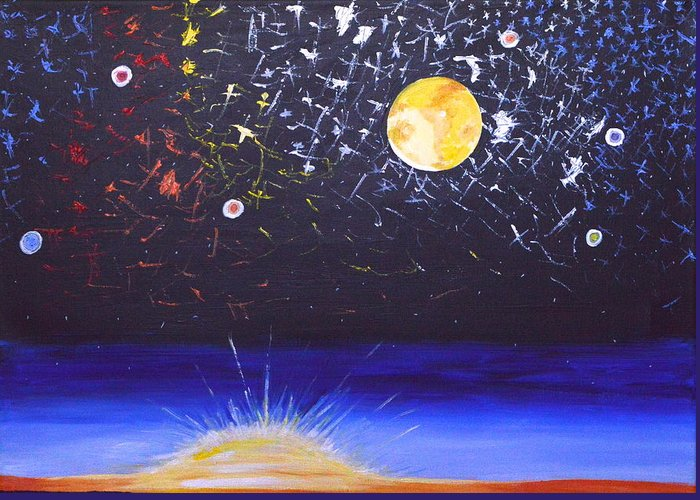 Sun Greeting Card featuring the painting Sun Moon And Stars by Donna Blossom