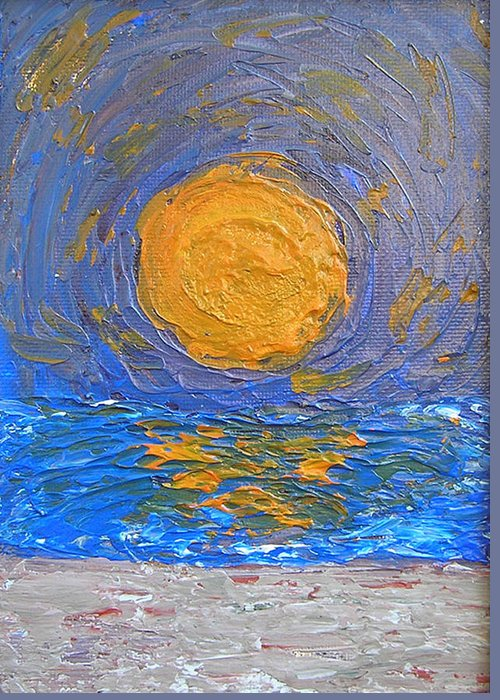 Sun Greeting Card featuring the painting Sun Sea And Sand by Ricklene Wren