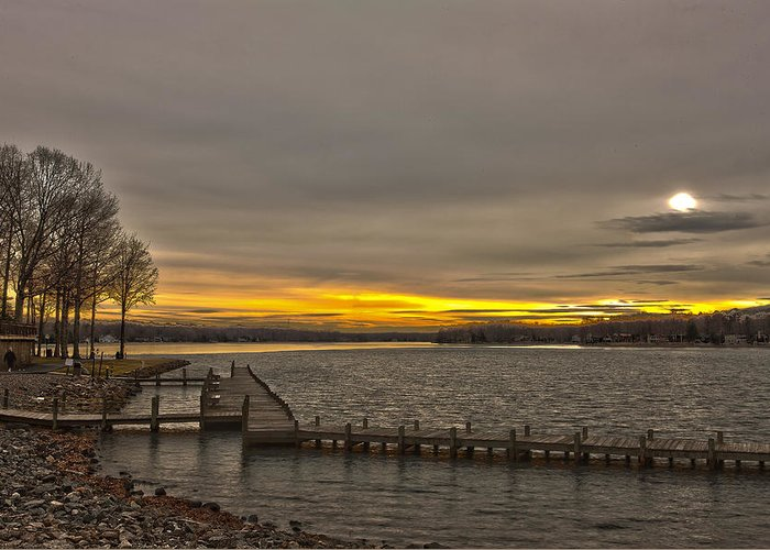 Sun Set Greeting Card featuring the photograph Sun Set At The Lake by George Lovelace