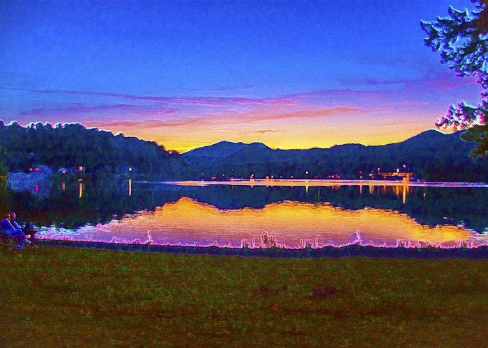 Sun Set On Lake Lure Greeting Card featuring the digital art Sun Set On Lake Lure by Mark Van Martin