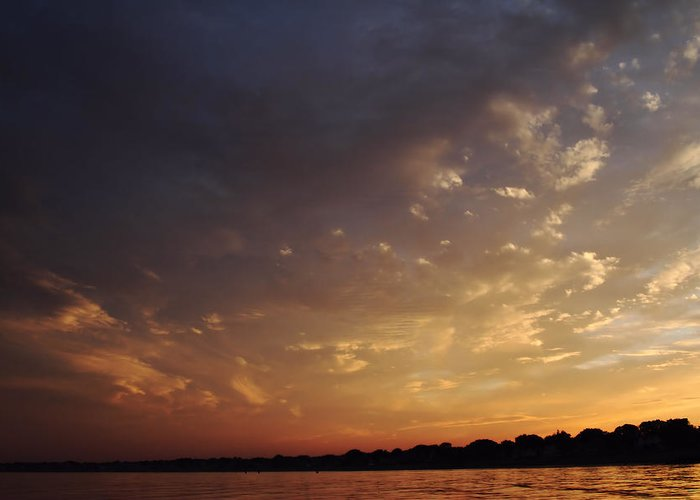 Sunset Greeting Card featuring the photograph Sun Settles On Connecticut by Karol Livote