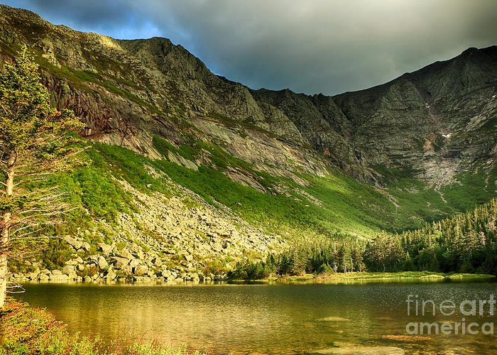 Chimney Pond Greeting Card featuring the photograph Sun Shining On Chimney Pond by Elizabeth Dow