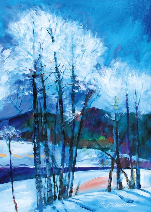 Nature Greeting Card featuring the painting Sun Through The Cottonwoods by Ron Patterson