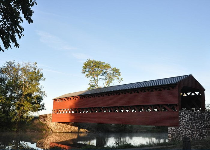 Sachs Greeting Card featuring the photograph Sun Up At Sachs Covered Bridge by Bill Cannon