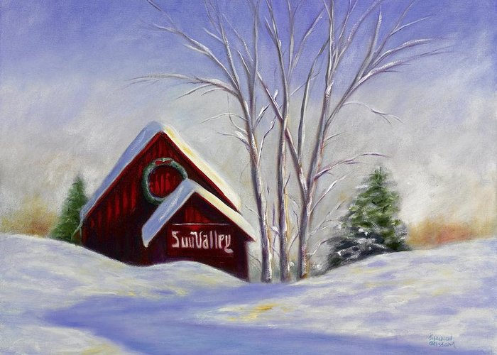 Landscape White Greeting Card featuring the painting Sun Valley 1 by Shannon Grissom