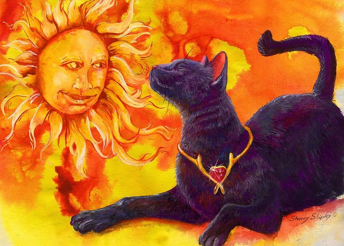 Cat Greeting Card featuring the painting Sun Worshiper by Sherry Shipley