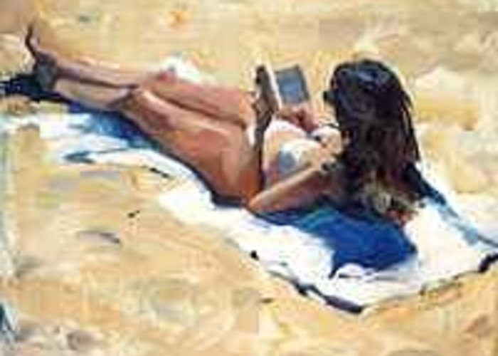 Sunbather Greeting Card featuring the painting Sunbather by Ed Slack