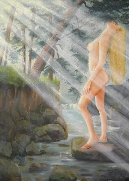 Nude Greeting Card featuring the painting Sunbeams by Joni McPherson