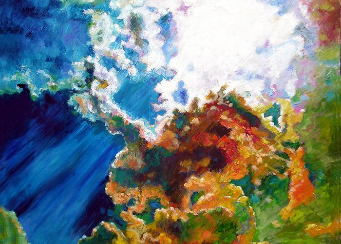 Sunburst Greeting Card featuring the painting Sunburst by John Lautermilch