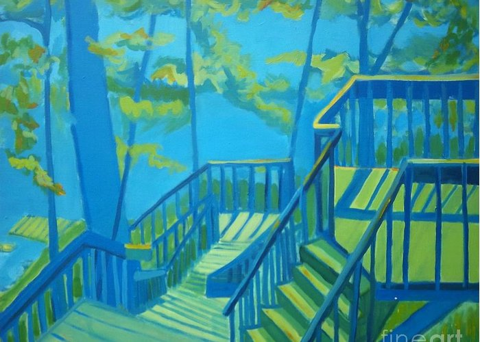 New Hampshire Greeting Card featuring the painting Suncook Stairwell by Debra Bretton Robinson
