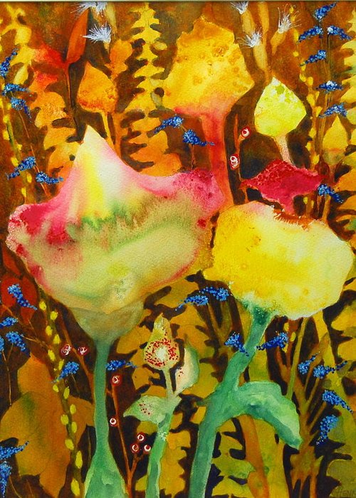 Abstract Floral Greeting Card featuring the painting Sundae Flower Cone by Henny Dagenais
