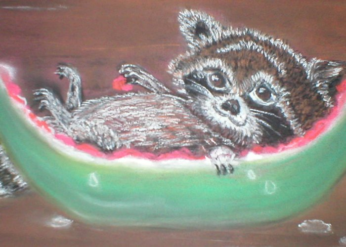 Racoon Greeting Card featuring the painting Sunday Afternoon Brunch by Terry Lash
