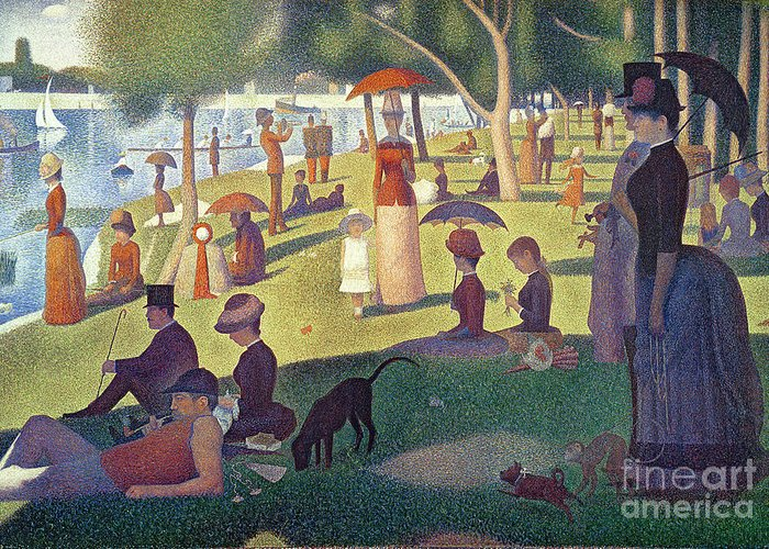 Sunday Greeting Card featuring the painting Sunday Afternoon On The Island Of La Grande Jatte by Georges Pierre Seurat