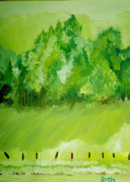 Spring Greeting Card featuring the painting Sunday At Two Thirty by Seth Weaver