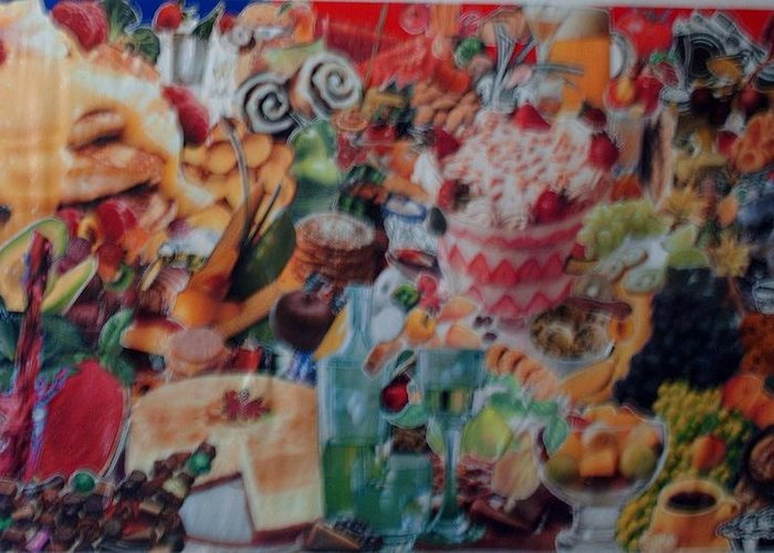 Food Kitchen Greeting Card featuring the mixed media Sunday Brunch by Nancy Graham