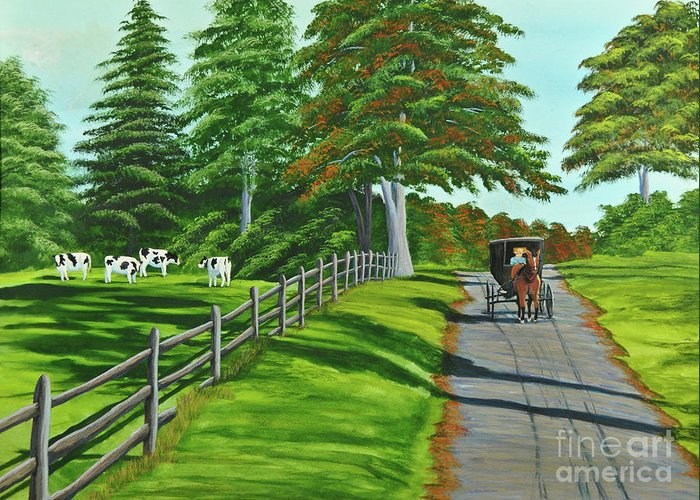 Cows Greeting Card featuring the painting Sunday Drive by Charlotte Blanchard