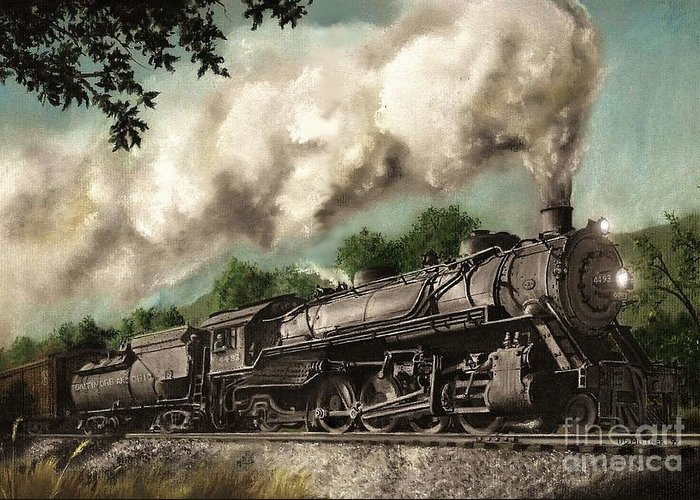 Baltimore & Ohio Railroad B&o Q4 Train Painting Railroad Maryland And Pennsylvania Autumn Fall Colors Steam Engine Greeting Card featuring the painting Sunday Drive by David Mittner