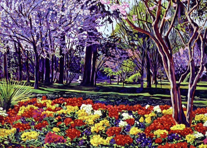Spring Greeting Card featuring the painting Sunday In The Park by David Lloyd Glover