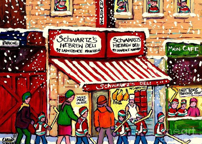 Montreal Greeting Card featuring the painting Sunday Lineup at the Deli by Carole Spandau