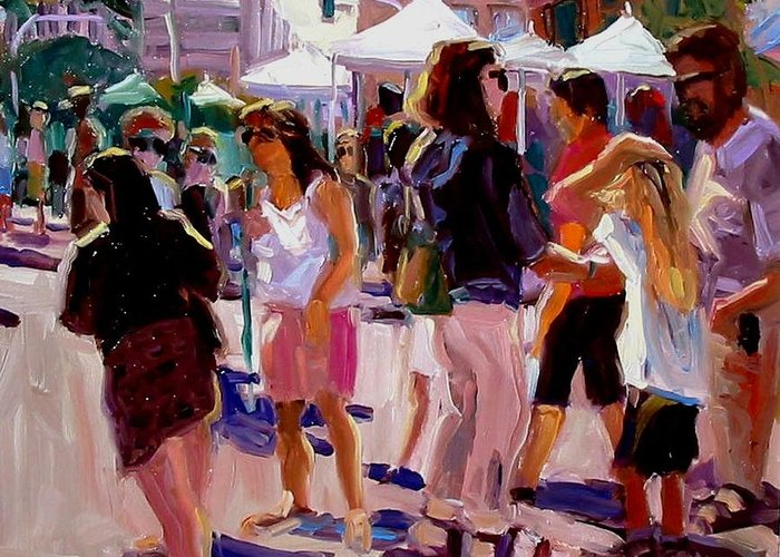Landscape Paintings Greeting Card featuring the painting Sunday Market by Brian Simons