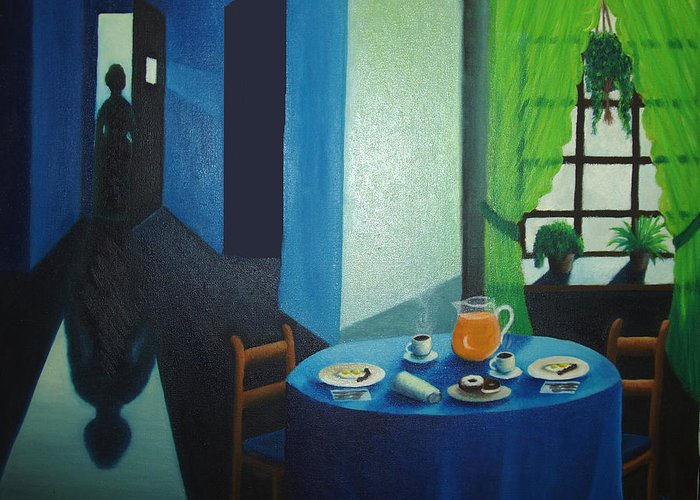Breakfast Greeting Card featuring the painting Sunday Morning Breakfast by Nancy Mueller