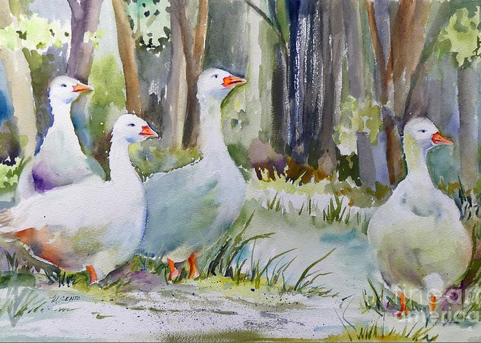Ducks Greeting Card featuring the painting Sunday Morning by Mafalda Cento