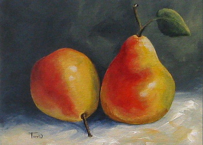 Pear Greeting Card featuring the painting Sunday Pears by Torrie Smiley