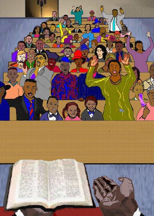 Sermon Greeting Card featuring the painting Sunday Sermon by Pharris Art