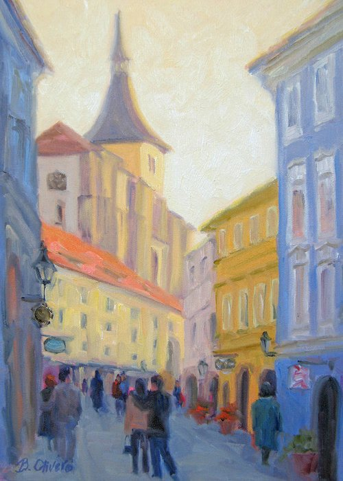 Prague Greeting Card featuring the painting Sunday Stroll - Prague by Bunny Oliver