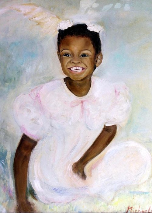 Portrait Greeting Card featuring the painting Sunday's Child by Michela Akers