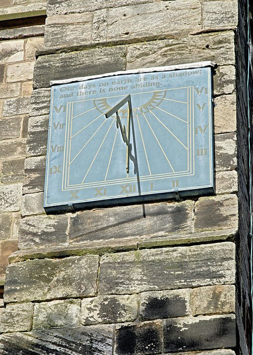 Tutbury Greeting Card featuring the photograph Sundial On St Mary's Church - Tutbury by Rod Johnson