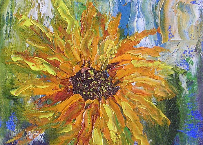 Sunflower Greeting Card featuring the painting Sunflower Abstract by Barbara Harper