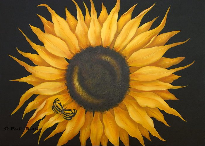 Floral Greeting Card featuring the painting Sunflower And Butterfly by Ruth Bares